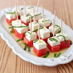 A simple and light appetizer: watermelon, feta and mint salad bites.