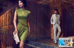 Model/actress Lin Chi Ling & model/actor Hu Bing. Advertising shoot for Shanghai Tang (luxury Chinese fashion brand).