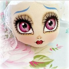 A pastel coloured Easter doll ♡ Doll Face Paint, Snowman Faces, Flower Coloring Pages, Doll Eyes, Soft Dolls, Fabric Dolls, Doll Patterns, Beautiful Dolls, Baby Dolls