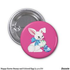 Happy Easter Bunny and Colored Egg 1 Inch Round Button