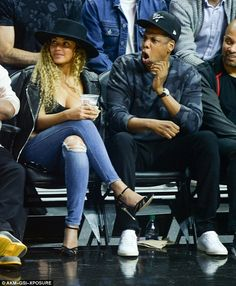 Exciting: Jay Z reacted with shock on his face during one of the plays...