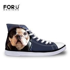 FORUDESIGNS Fashion Women Casual 3D Animal French Bulldog Frenchie Printed Shoes Female Lace-up Flats Girl High Top Canvas Shoes