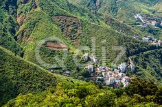 Qdiz Stock Photos | Small buildings in green valley,  #buildings #Canary #City #day #green #island #landscape #nature #scenic #small #Spain #spring #Tenerife #town #valley #view #village