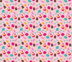 Colorful candy lollipop and cupcake sugar party fabric by littlesmilemakers on Spoonflower - custom fabric