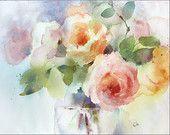 Rosen-Aquarell, Original Painting 12 x 16 Zoll