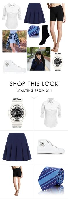 """hip hop school uniform"" by vixx-starlight ❤ liked on Polyvore featuring G-Shock, LE3NO, Diane Von Furstenberg, Versus, Nikibiki and Barneys New York"