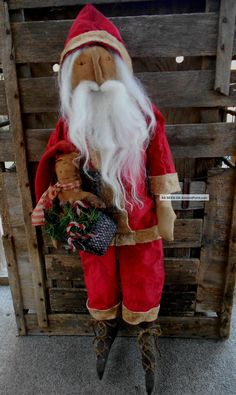 Primitive Christmas Santa Doll Raggadees By Mom & Me Primitives photo