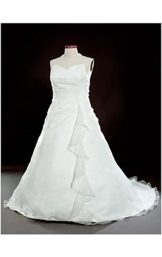 A-Line Halter Court Train Organza Plus Size Wedding Dress