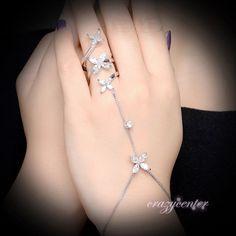 Cubic Zirconia Flower hand chain Slave bracelet Ring bridal palm bracelet Gift #crazycenter #Handletchainbraceletring