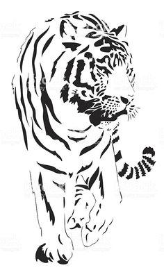 New Wood Burning Cat Pyrography 26 Ideas Tiger Illustration, Stencils, Stencil Art, Tiger Stencil, Stencil Patterns, Stencil Designs, Kirigami, Gravure Laser, Animal Stencil