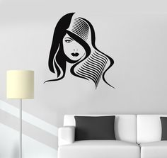 Vinyl Decal Hair Salon Barbershop Hairdresser Woman Wall Sticker Mural (ig066)