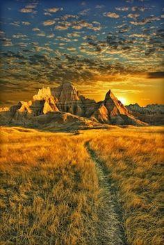 Golden Sunset, Badlands, South Dakota, United States.