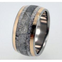 Deer Antler, Meteorite and 18K Yellow Gold inlay Titanium Wedding Band - Meteor Ring Signature Series