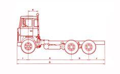 Desenho dimensional do modelo LKS 140, evidenciando a quase total disponibilidade do chassi, permitida pelo funcional posicionamento da cabine basculante.