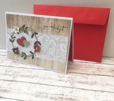 Hochzeitskarten - Hochzeitskarte mit Blütenkranz & Holz - ein Designerstück von POMMPLA bei DaWanda