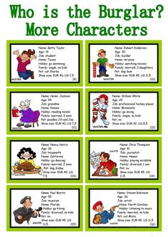 WHO IS THE BURGLAR? - 30 Conversation Cards - Roleplay - Class and Group Speaking - English ESL Worksheets for distance learning and physical classrooms English Games, English Activities, English Class, English Lessons, Teaching English, Learn English, Speaking Games, Public Speaking, Conversation Cards