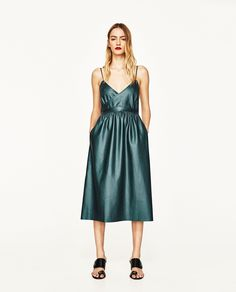 ZARA - WOMAN - CROSSOVER FAUX LEATHER DRESS