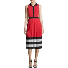MICHAEL Michael Kors Billerly Striped Pleated A-Line Midi Dress ($175) ❤ liked on Polyvore featuring dresses, red blaze, a line midi dress, red dress, pleated midi dress, a line dress and chiffon dresses