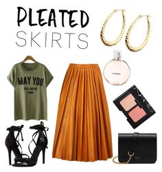 """PSkirts"" by vakacegu ❤ liked on Polyvore featuring By Malene Birger, Schutz, Chanel, Mulberry, NARS Cosmetics and pleatedskirts"
