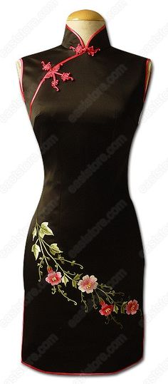 Beautiful cheongsam dress (Love this style & cut...  These dresses are so complimenting, sophisticated & oooooze class and elegance) #A