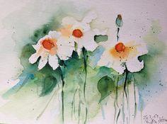 ORIGINAL AQUARELL Aquarellmalerei Bild Kunst Margeriten Blumen