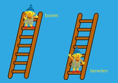 Rekenprikkels - Tegenstellingen - boven, beneden Dutch Language, Little King, Kids Daycare, Prepositions, Speech And Language, Crafts For Kids, Education, Winter, Illustration