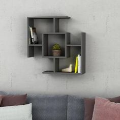 Give a rustic look to your dwelling by using this amazing Ada Home Decor Warel Anthracite Modern Wall Shelf. Perfectly blends with any style of home decor. Cube Wall Shelf, Unique Wall Shelves, Corner Wall Shelves, Wooden Wall Shelves, Cube Shelves, Floating Wall Shelves, Wall Mounted Shelves, Wooden Walls, Empty Wall Spaces