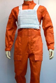 X-Wing Rebel Fighter Pilot Orange Jumpsuit + White Flak Vest Star Wars Costume  #Unbranded #Vest