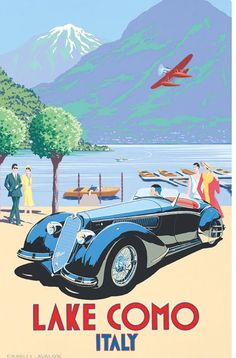 100 Vintage Travel Posters That Inspire to Travel The World - Alfa Romeo – Lake Como' by Charles Avalon – Vintage car posters – Art Deco – Pullman Editions - Old Poster, Auto Poster, Poster Art, Kunst Poster, Art Deco Posters, Car Posters, Vintage Italian Posters, Vintage Travel Posters, Vintage Advertisements