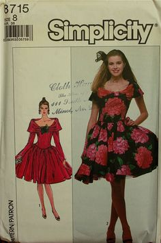 3a713f2969 1980s Party Dress Off Shoulders Simplicity by patterntreasury