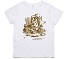 El Cheapo Alice in Wonderland - Mad Hatter Engaging (Brown) Youth White T-Shirt