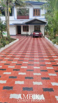 Unipaver Block :: Clean, open and simple entrance. 😍 For any inquiries, call Paver Designs, Concrete Patio Designs, Paving Design, Roof Design, Outdoor Tiles, Outdoor Flooring, Wooden Front Door Design, Pavement Design, Paver Blocks