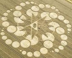 Crop circle. August. Star design.