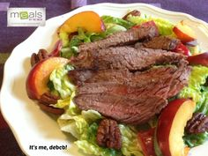 Perfect for Summer! Marinated Steak Salad with Nectarines and Spiced Pecans- It's me, debcb!