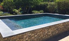 New patio deck pool stones ideas