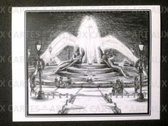 "Swann Memorial Park Fountain (Philadelphia) Christmas Cards; Pack of 10 cards (with envelopes) for $9.00. Hand-drawn (by me!) in black ink, printed on 4.25"" x 5.5"" white card stock, package bound with ribbon. Shows snowy, Christmas'y scene of Swann Memorial Fountain. Families walking around, people sitting on the fountain talking, people with shopping bags. Holiday message inside."