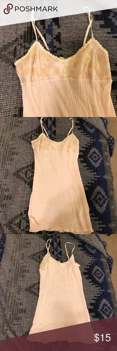 Free People tank top Cream colored tank with embroidery on front. Super soft! 100% viscose/ 10% angora. Hardly worn, excellent condition. Size M. Free People Tops Tank Tops