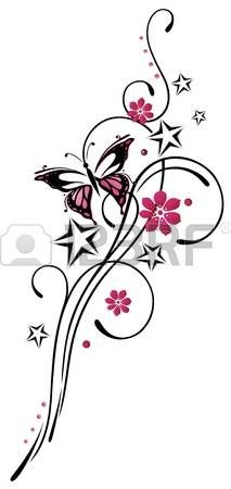 Tribal with stars and butterfly, pink and black photo