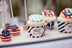 Nautical Baby Shower Cupcake Wrappers - Ahoy It's A Boy - PRINTABLE - By A Blissful Nest. $6.00, via Etsy.