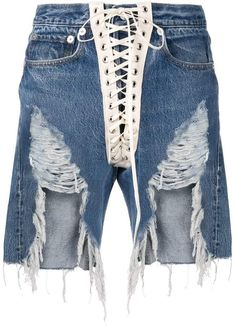 413ca24bee R 13 lace-up distressed shorts Denim And Lace, Blue Denim, Distressed Shorts