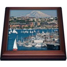 3dRose Washington, Seattle. Lake Union and Mt. Rainier - US48 CCR0292 - Charles Crust, Trivet with Ceramic Tile, 8 by 8-inch