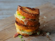 28 Grilled Cheese Sandwiches -Grilled Cheese Month – Our Daily Bread (Grilled, with Cheese) in a Grid  - this one is loaded baked potato grilled cheese - CLICK FOR ALL 28 RECIPES!