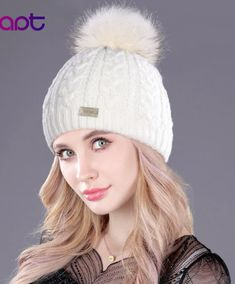 e8ffe3ec1f8bc0 Adrien's Shop - Soft cashmere women's knited winter cap skullies beanies  fur pom pom hats Women's