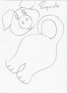 Moldes de picaportes infantiles para imprimir ~ lodijoella Pig Crafts, Felt Crafts, Sewing Crafts, Applique Patterns, Quilt Patterns, Sewing Patterns, Finger Puppet Patterns, Quiet Book Templates, Farm Quilt