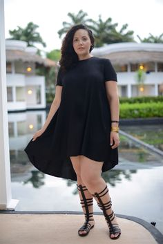 Hi-lo dress and gladiator sandals   Girl With Curves