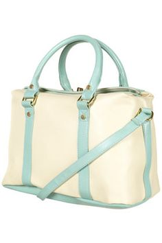 this is really presh.  sky blue contrast toplock holdall bag, topshop.com