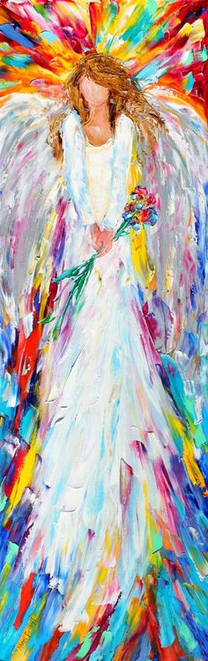 Pretty painting idea! Tall pin and tall angel, whimsical colorful angel holding a bouquet of flowers with rainbow colors behind her. Original oil painting Angel palette knife impasto by Karensfineart. Please also visit www.JustForYouPropheticArt.com for more colorful art you might like to pin or purchase. Thanks for looking!