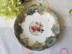 Blue and Gold Paragon Replacement Saucer Harvest Fruit and | Etsy Tea Party Theme, Tea Party Decorations, Vintage Birthday, Vintage Plates, Blue China, Gold Lace, Sweet Tea, Floral Centerpieces, Bridal Shower Gifts