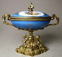 English Hand Painted Porcelain Egg Shape Casket, Ormolu Mounts