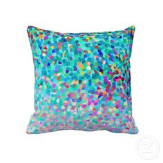 Colorful Blue Multicolored Abstract Art Pattern Throw Pillow- My original abstract art, pattern & design.  © Christina Katson- A cute colorful throw pillow with an aqua/turquoise blue background. Brighten up your home w/this multicolored pillow which has a spectrum of beautiful colors! It would be perfect for a girl's or teen's bedroom or a contemporary living room. 6 size options available. Visit my store to shop for more colorful home decor & gifts, thx! www.zazzle.com/abstractpaintings*/